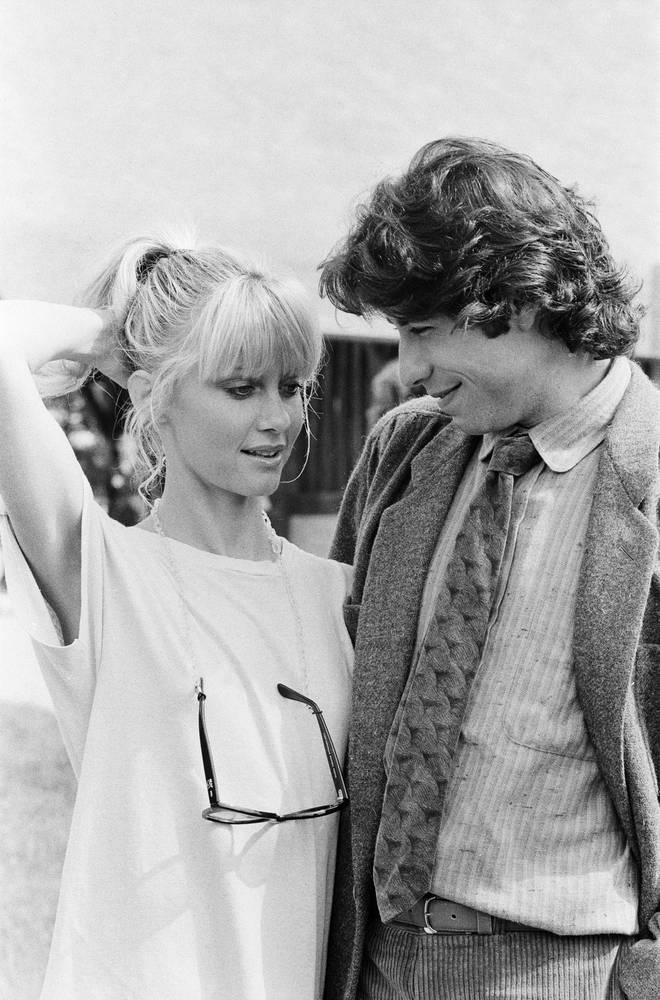 John Travolta and Olivia Newton John in England during the week of release of movie 'Grease' in September 1978.