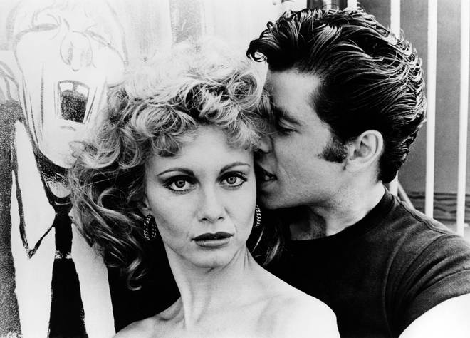 Olivia Newton-John and John Travolta pictured on the set of 'Grease' in 1978.