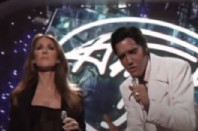 Even an eagle-eyed expert would struggle to spot the difference between fantasy and reality during the duet between Celine Dion and The King.