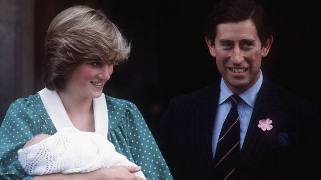 Prince William as a baby with parents Princess Diana and Prince Charles in 1982
