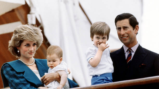 Diana, Harry, William and Charles in 1985