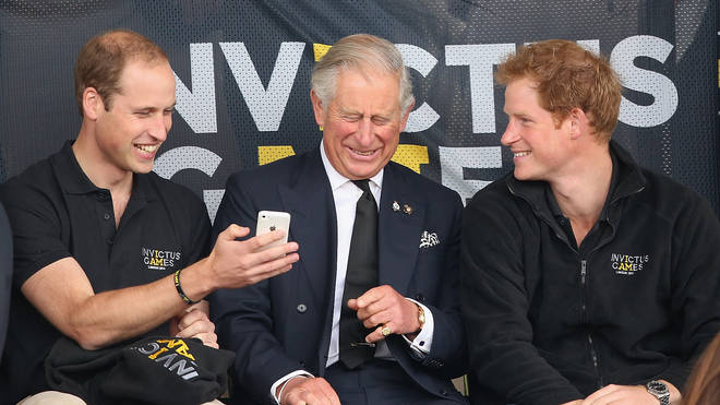 Charles with sons William and Harry in 2014