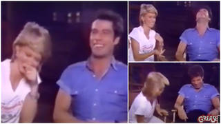 Vidoe has resurfaced of Olivia Newton-John and John Travolta laughing hysterically during a Grease interview in 1983 (pictured)