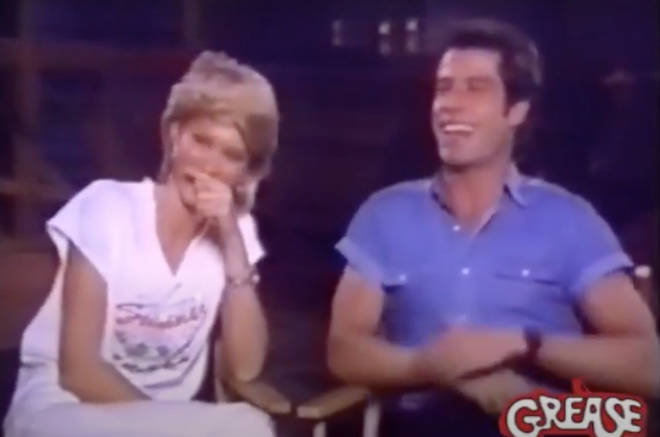 The interview then descends into chaos as Olivia Newton-John and John Travolta cannot stop laughing and making jokes at each others expense