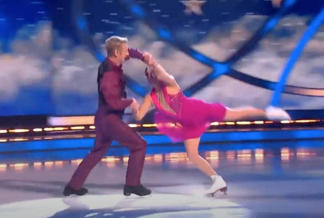 Olympic gold medal winners Jane Torvill and Christopher Dean gave a stunning performance set the the backdrop of FRank Sinatra's 'Fly Me To The Moon'