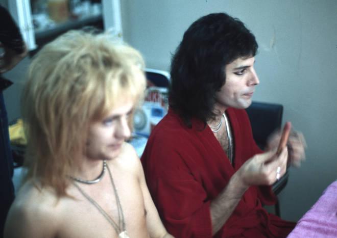Freddie Mercury and Roger Taylor backstage makeup