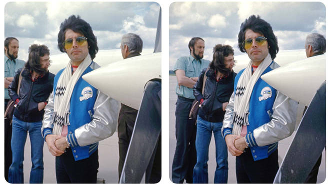 Freddie Mercury and John Deacon at an airport.