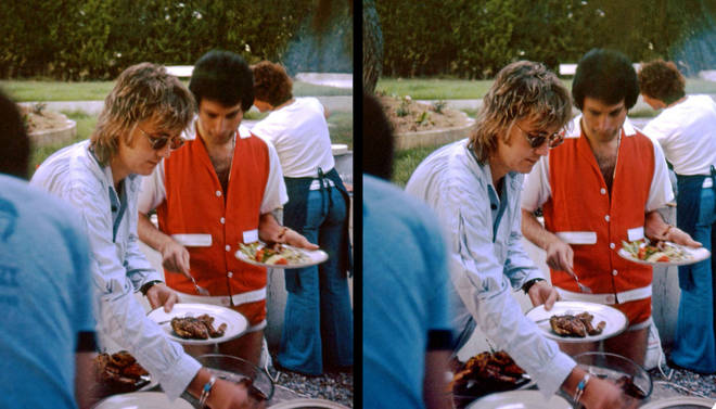 Freddie Mercury in shorts at BBQ with Roger Taylor
