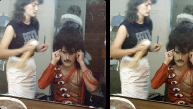 Freddie Mercury hairspray backstage makeup