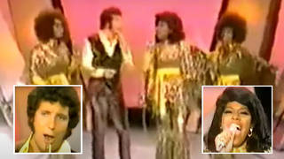 Tom Jones was joined by Supremes Jean Terrell, Mary Wilson and Cindy Birdsong for a performance of 'River Deep Mountain High' on his TV show 'This is Tom Jones' in 1970
