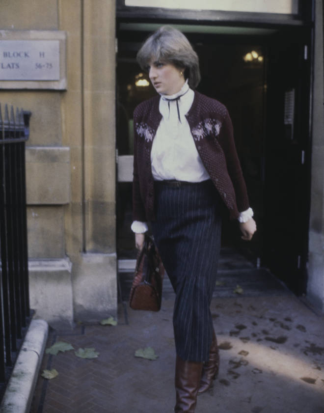 Diana lived at the property with numerous girlfriends and worked at Young England Kindergarten in Pimlico, central London. Lady Spencer pictured leaving her flat in 1980.