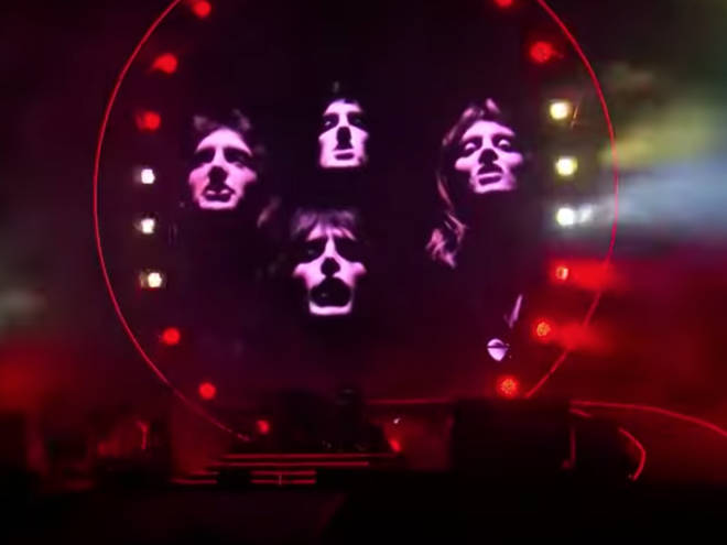 Footage was shown of Roger Taylor, John Deacon and Freddie Mercury singing 'Bohemian Rhapsody' from the song's official music video.