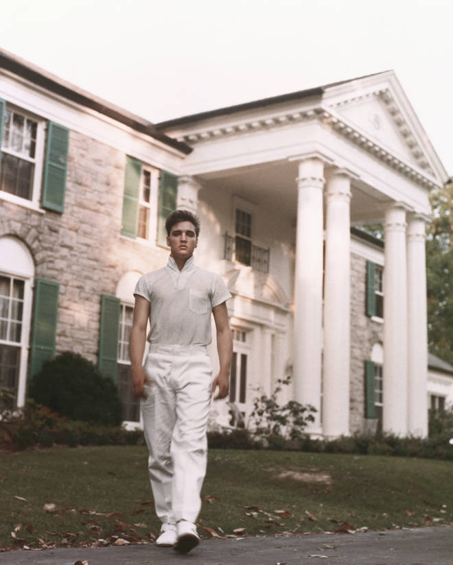 Elvis Presley pictured in front of Graceland, photographed in circa 1957