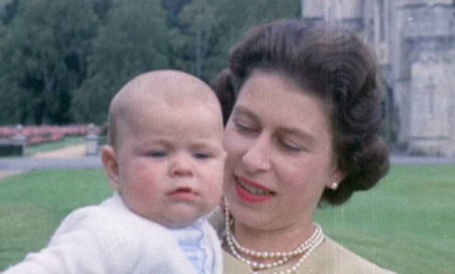 Unseen photos and footage of the Queen, including this photo of Elizabeth II holding Prince Andrew at Balmoral in 1960, will be aired in the ITV documentary.