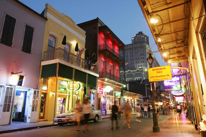 Bourbon Street (pictured) and Decatur Street are at the heart of the French Quarter of New Orleans.
