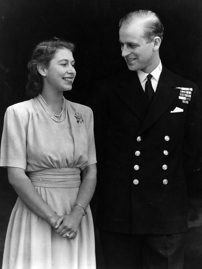 Philip was away fighting in the Second World War, yet the pair's love endured and their engagement was announced in July 1947 (pictured).