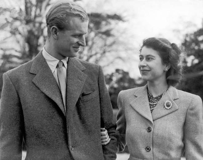 The royal pair pictured during a walk on their honeymoon in Broadlands, Hampshire in 1947.