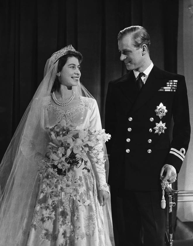 The pair were married at Westminster on November 20, 1947, pictured.