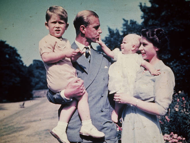 Elizabeth and Philip and Prince Charles and Princess Anne, August 1951.