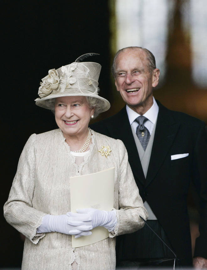 Queen Elizabeth II and Prince Philip, Duke of Edinburgh arrive at St Paul's Cathedral for a service of thanksgiving held in honour of the Queen's 80th birthday, June 15, 2006