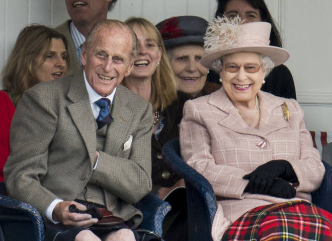 Queen Elizabeth and Prince Philip attend the annual Braemer Highland Games on September 7, 2013 in Braemar, Scotland.