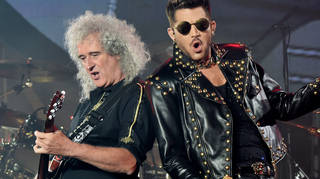 Brian May has revealed Queen have started recording new music with Adam Lambert. Pictured on stage at the Forum on July 3, 2014 in Inglewood, California
