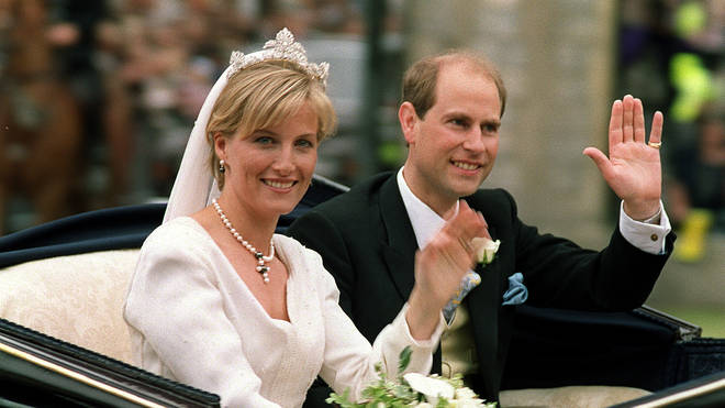 Prince Edward and Sophie Rhys-Jones on their wedding day in 1999