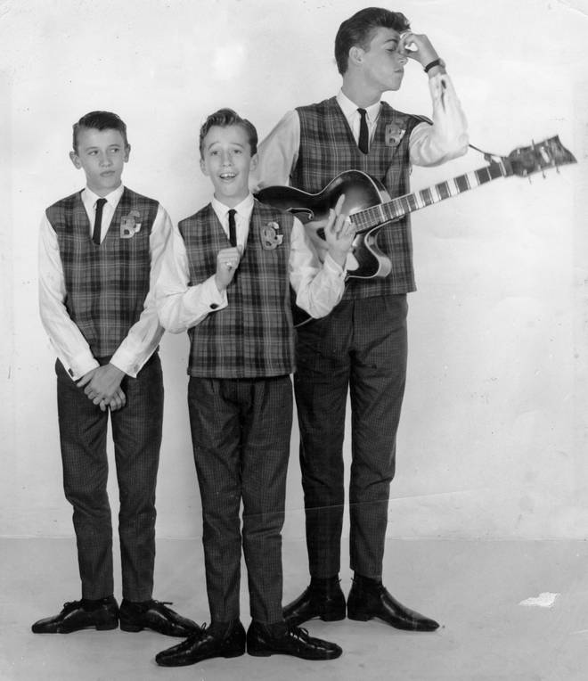 Bee Gee brothers (L to R) Maurice, Robin and Barry Gibb were born on the Isle of Man to English parents, and lived in Chorlton, Manchester until the late 1950s.