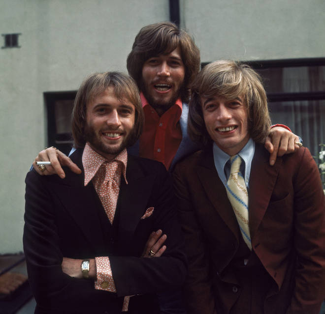 Bee Gees (L to R) Maurice, Barry and Robin Gibb, circa 1973.