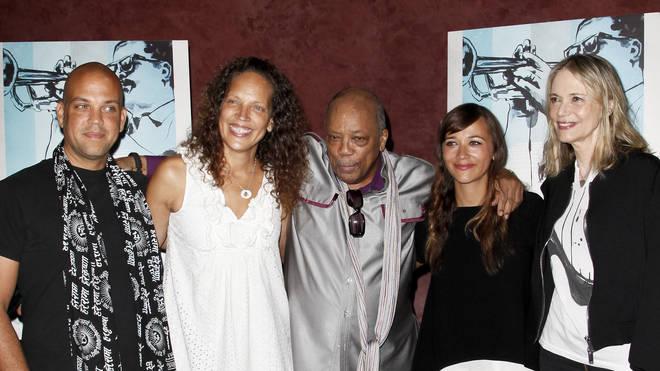 Quincy Jones with children Quincy, Martina, Rashida and ex-wife Peggy Lipton in 2014
