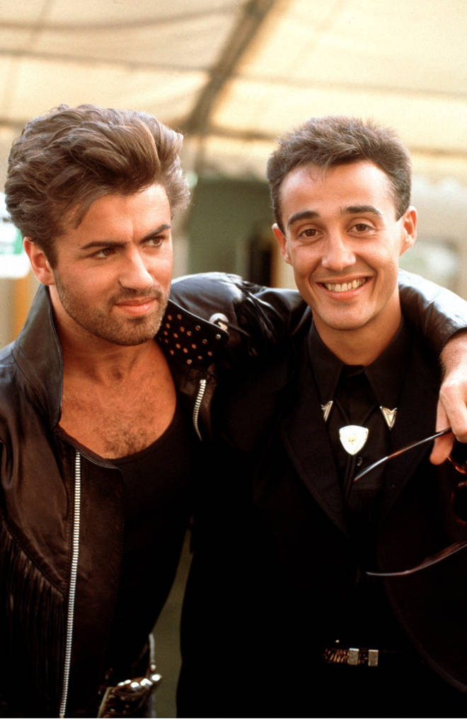 The video comes just four years after George Michael last Wham! and branched out on his own as a solo star. Pictured, Wham!'s George Michael and Andrew Ridgeley backstage on their farewell concert 'The Final' at Wembley Stadium on June 26, 1986
