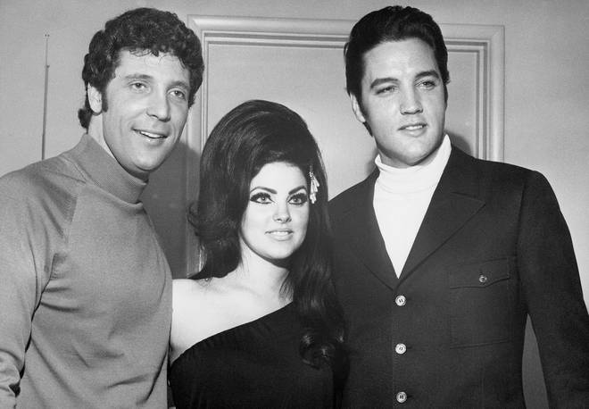 (L to R) Tom Jones, Priscilla Presley and Elvis Presley pictured in 1968 backstage at the Flamingo Hotel in Las Vegas, where Presley witnessed and cheered to a Tom Jones performance.