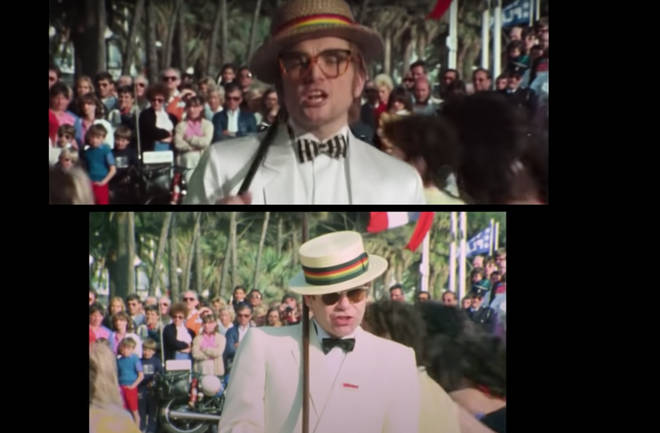 The footage was re-scanned and computer graphics added before Taron Egerton was shot in almost identical clothing to Elton John.