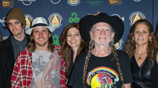 Willie Nelson with children Jacob, Lukas and Amy, and wife Annie