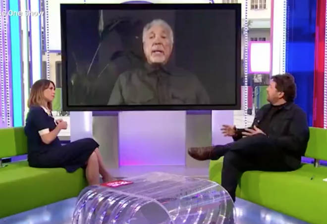 The ONe Show hosts Alex Jones and Michael Ball were visibly moved by Sir Tom Jones' story, pictured.