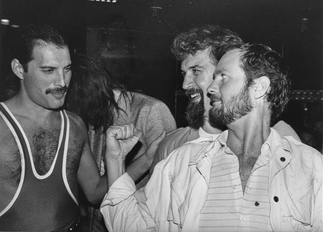 Queen's Freddie Mercury with comedian Billy Connolly and DJ Kenny Everett, during Mercury's 38th birthday party at the Xenon nightclub, 1984.