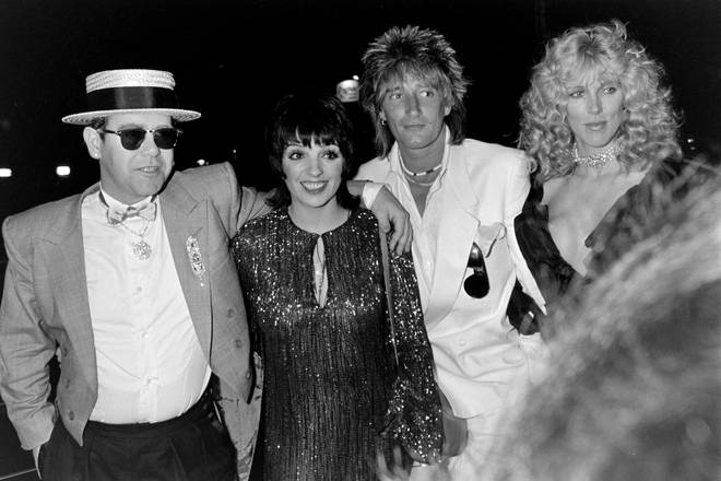 Elton John, Liza Minnelli, Rod Stewart and Alana Stewart pictured at the White Elephant Restaurant in London to celebrate Liza Minnelli's opening night show on May 17, 1983.