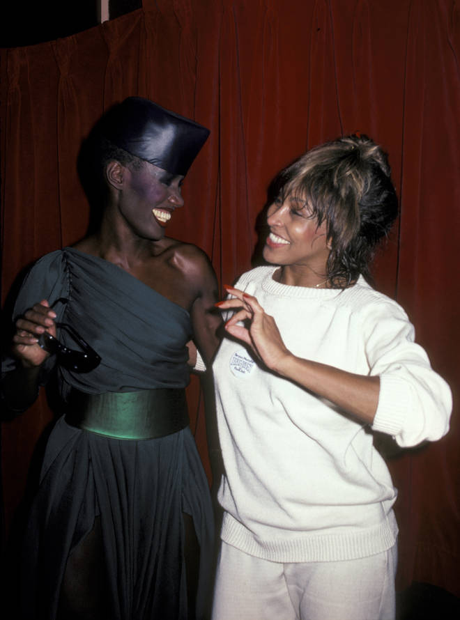 Grace Jones and Tina Turner at the Tina Turner Opening Party May 7, 1981 at The Ritz in New York City.