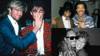 Clockwise from Left to Right: George Michael and Andrew Ridgeley, Michael Jackson and Lionel Richie and Stevie Wonder and Whitney Houston