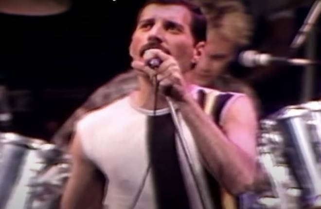 Queen may be known as the kings of showmanship, but Freddie Mercury's famous performance at Live Aid blew every other band out of the water. Pictured: Freddie Mercury rehearsing for Live Aid.
