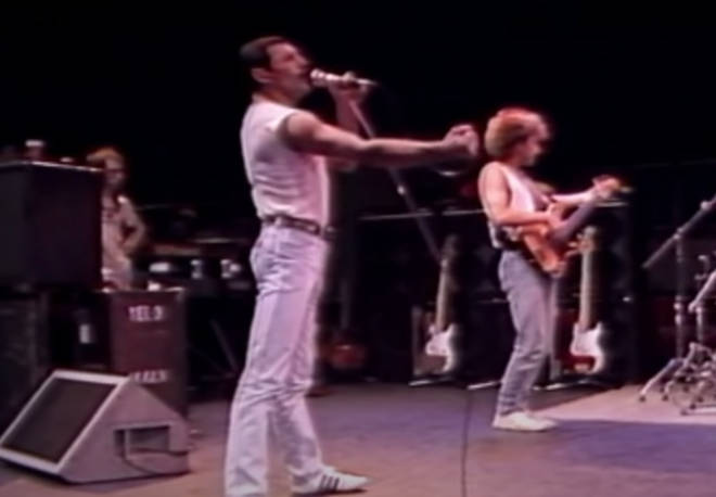 The video is reportedly a mix of rehearsals for both the band's arena show in Montreal, Canada and Live Aid at Wembley and opens with the partial rehearsal of Queen's 'Seas of Rye' (pictured)
