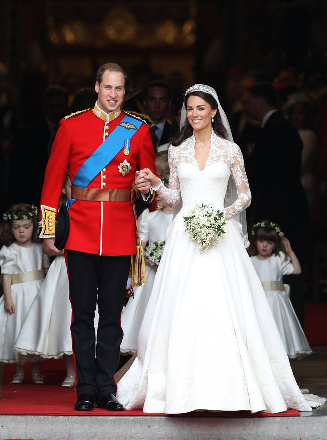 The Duke and Duchess of Cambridge released the new photos to mark their ten year wedding anniversary. Pictured, the pair after marrying in Westminster Abbey on April 29, 2011