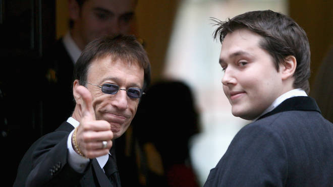 Robin Gibb with son RJ in 2009