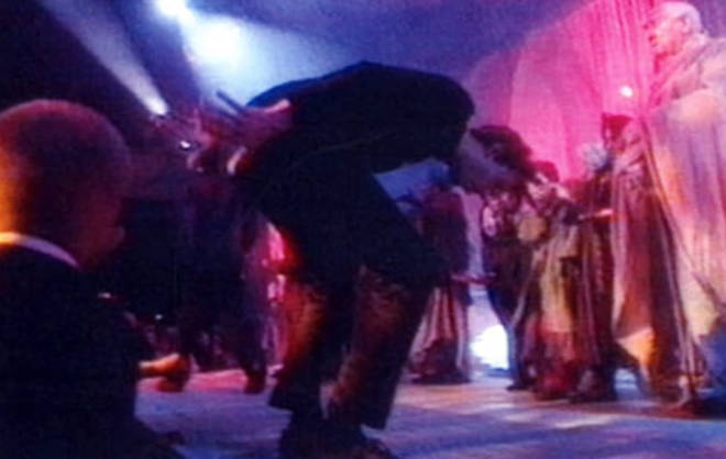 The incident saw Jarvis 'moon' the crowd and duck and weave among extras before standing on the very top of the stage as 'Earth Song' continued to play around him