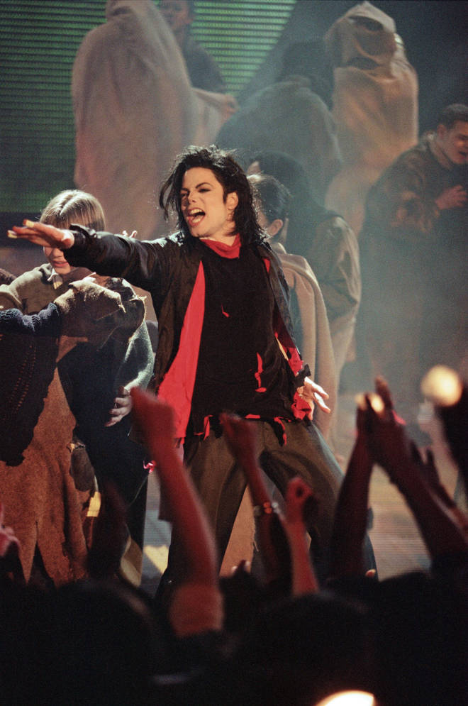 Michael Jackson performing at the Brit Awards just moments before Jarvis Cocker crashed the stage at Earls Court, London on February 19, 1996.