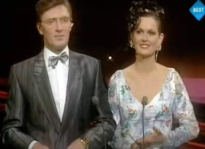 Eurovision presenters Pat Kenny and Michelle Rocca (pictured) struggled to keep the crowd calm as they realised Celine Dion had one the contest by one point.