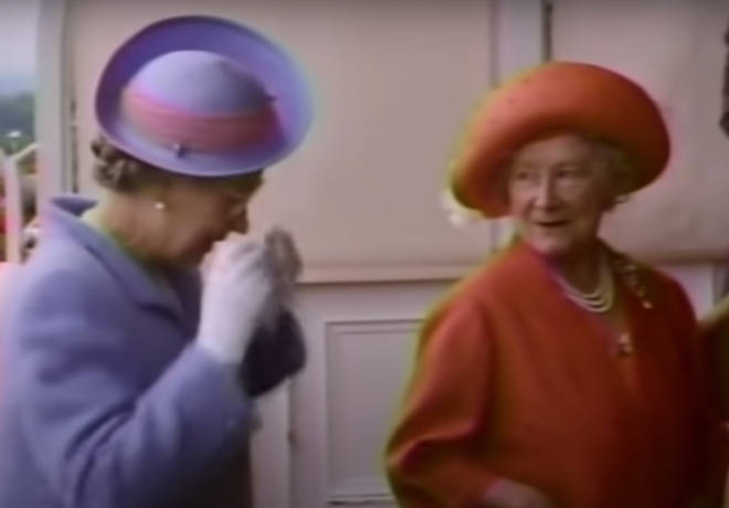"""Her Majesty she can be seen wiping tears from her face before saying to The Queen Mother: """"Do you know that I haven't watched from a pair of binoculars for ages."""""""