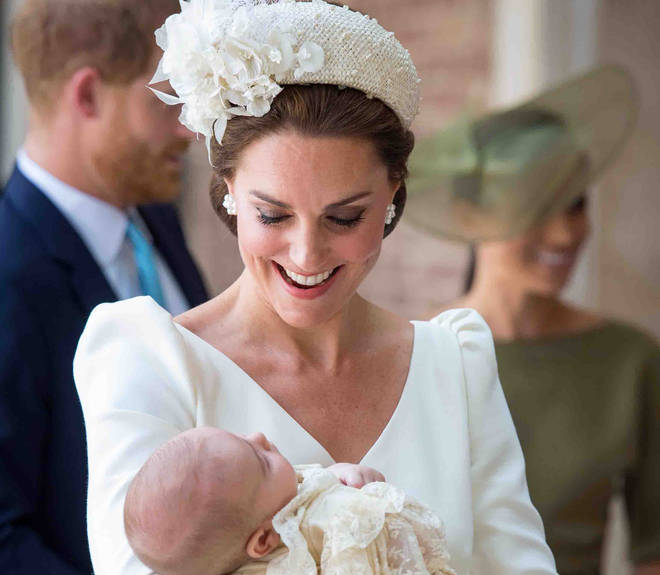 The Duchess of Cambridge with Prince Louis at his Christening