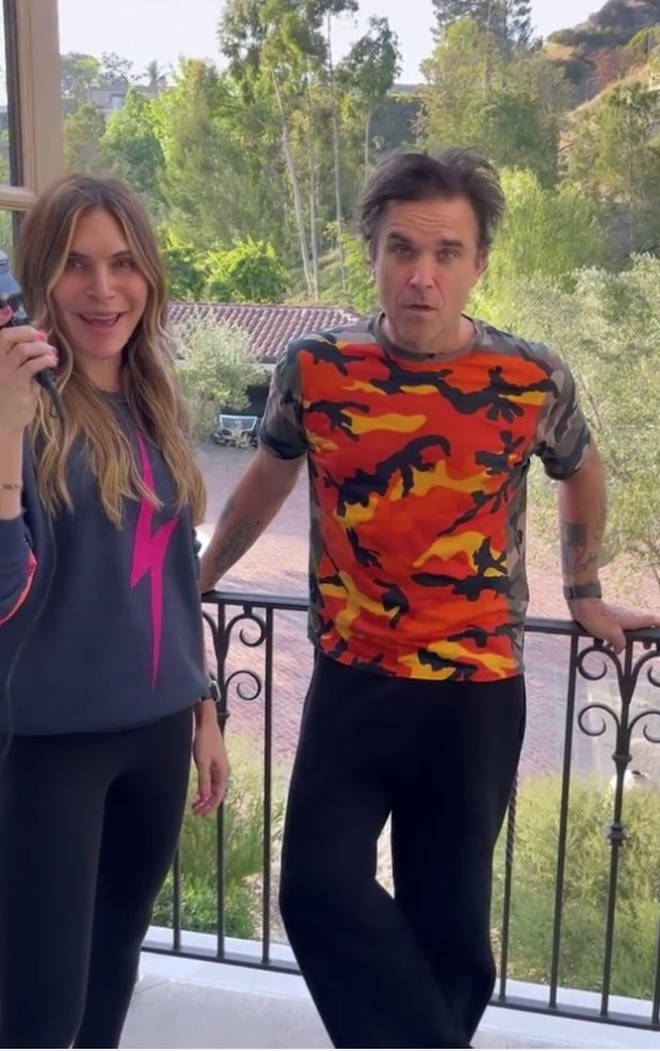 In a video posted of Ayda Field's Instagram page, the 'Rock DJ' singer and his wife can be seen on the balcony of the star's Los Angeles home as Ayda holds up a pair of clippers.