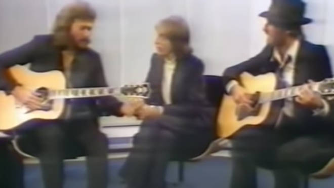 Robin, Maurice and Barry Gibb were guests on TV show Parkinson when the host asked them to sing their 1967 song 'Massachusetts'.